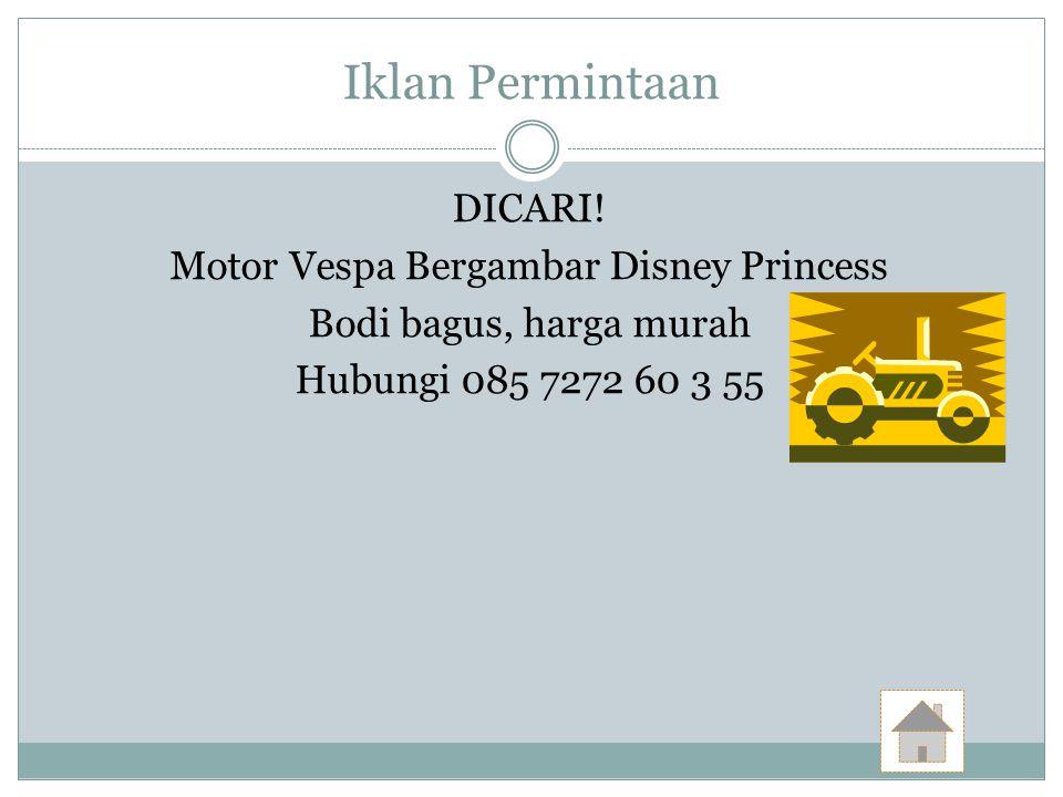 Motor Vespa Bergambar Disney Princess