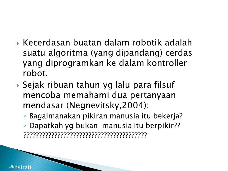 Kecerdasan buatan dalam robotik adalah suatu algoritma (yang dipandang) cerdas yang diprogramkan ke dalam kontroller robot.