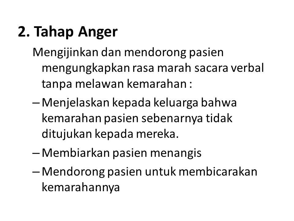 2. Tahap Anger Mengijinkan dan mendorong pasien mengungkapkan rasa marah sacara verbal tanpa melawan kemarahan :