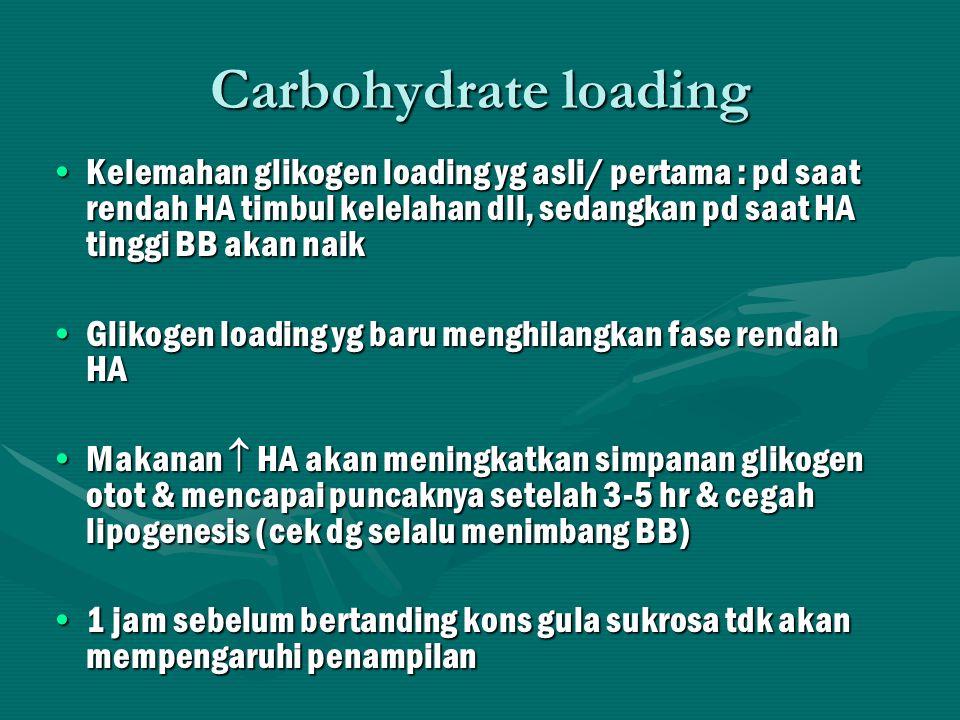 Carbohydrate loading Kelemahan glikogen loading yg asli/ pertama : pd saat rendah HA timbul kelelahan dll, sedangkan pd saat HA tinggi BB akan naik.