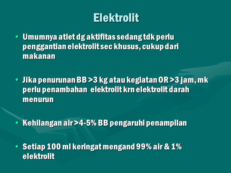 Elektrolit Umumnya atlet dg aktifitas sedang tdk perlu penggantian elektrolit sec khusus, cukup dari makanan.