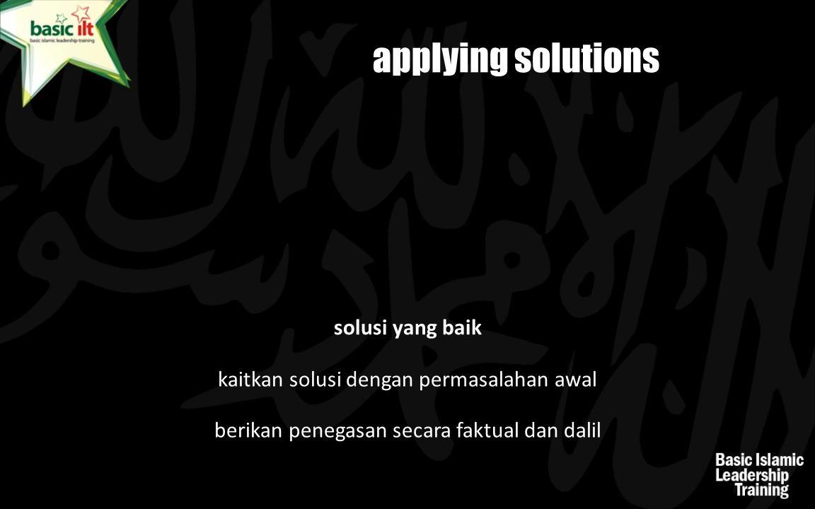 applying solutions solusi yang baik