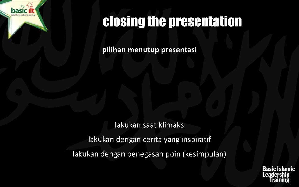pilihan menutup presentasi