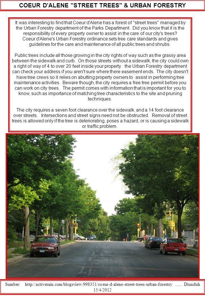 COEUR D ALENE STREET TREES & URBAN FORESTRY