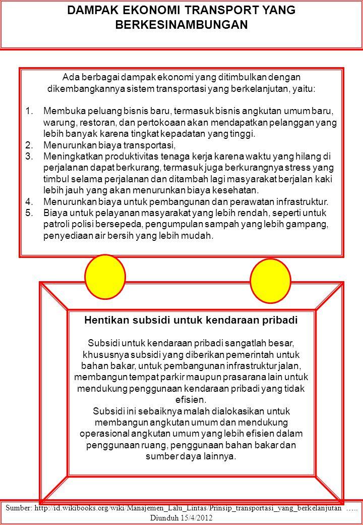 DAMPAK EKONOMI TRANSPORT YANG BERKESINAMBUNGAN