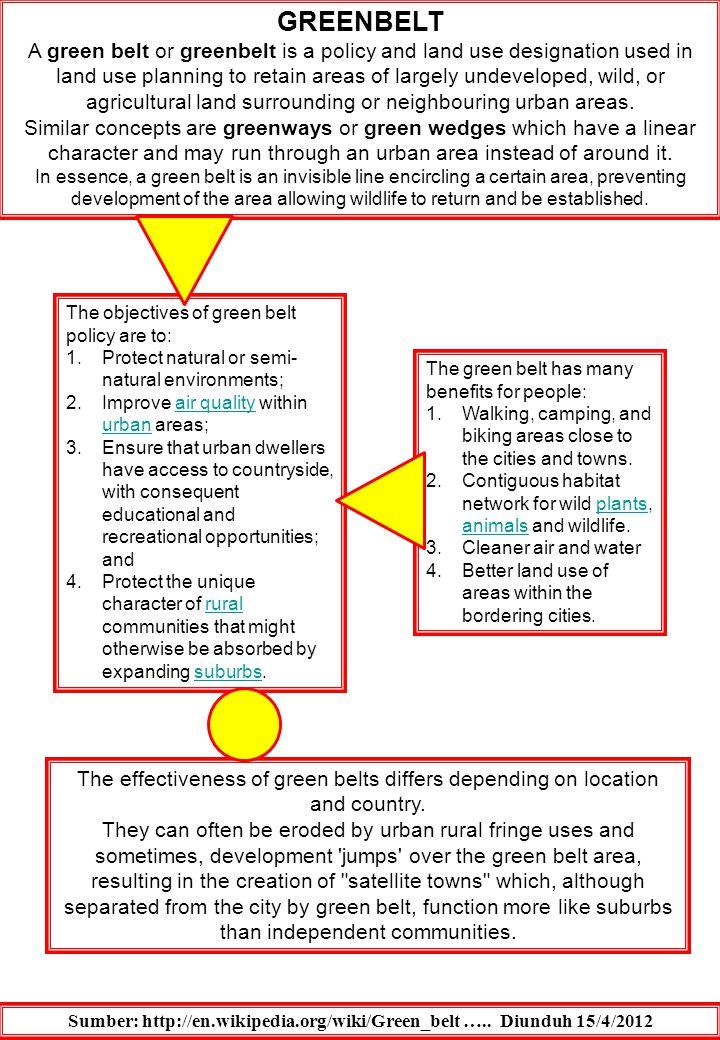 Sumber: http://en.wikipedia.org/wiki/Green_belt ….. Diunduh 15/4/2012