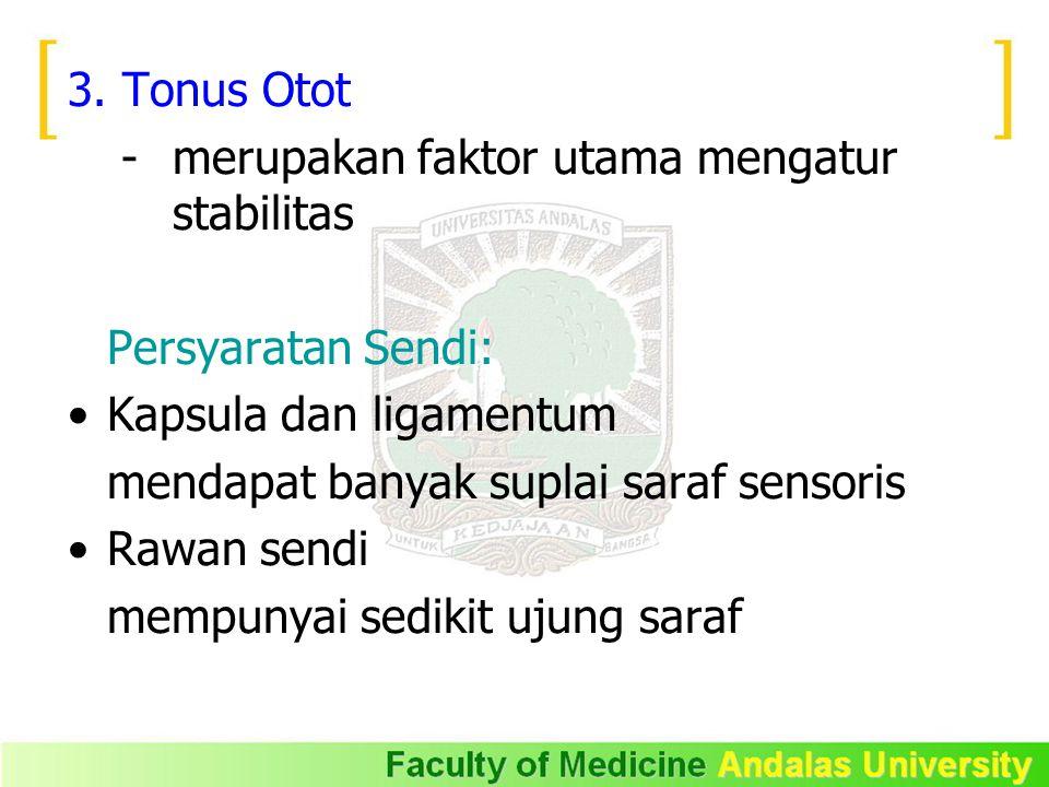 3. Tonus Otot - merupakan faktor utama mengatur stabilitas. Persyaratan Sendi: Kapsula dan ligamentum.