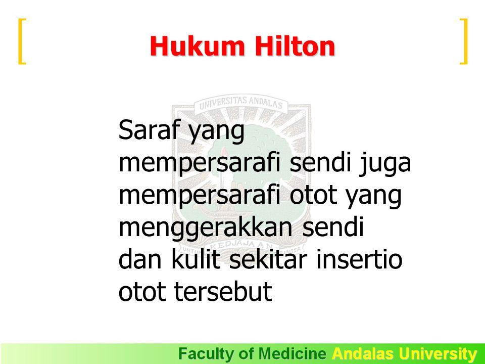 Hukum Hilton Saraf yang mempersarafi sendi juga mempersarafi otot yang menggerakkan sendi dan kulit sekitar insertio otot tersebut.