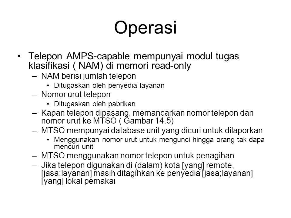 Operasi Telepon AMPS-capable mempunyai modul tugas klasifikasi ( NAM) di memori read-only. NAM berisi jumlah telepon.