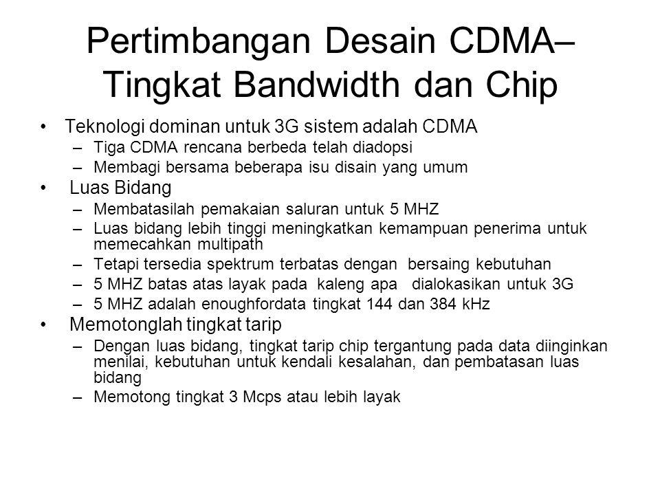 Pertimbangan Desain CDMA– Tingkat Bandwidth dan Chip