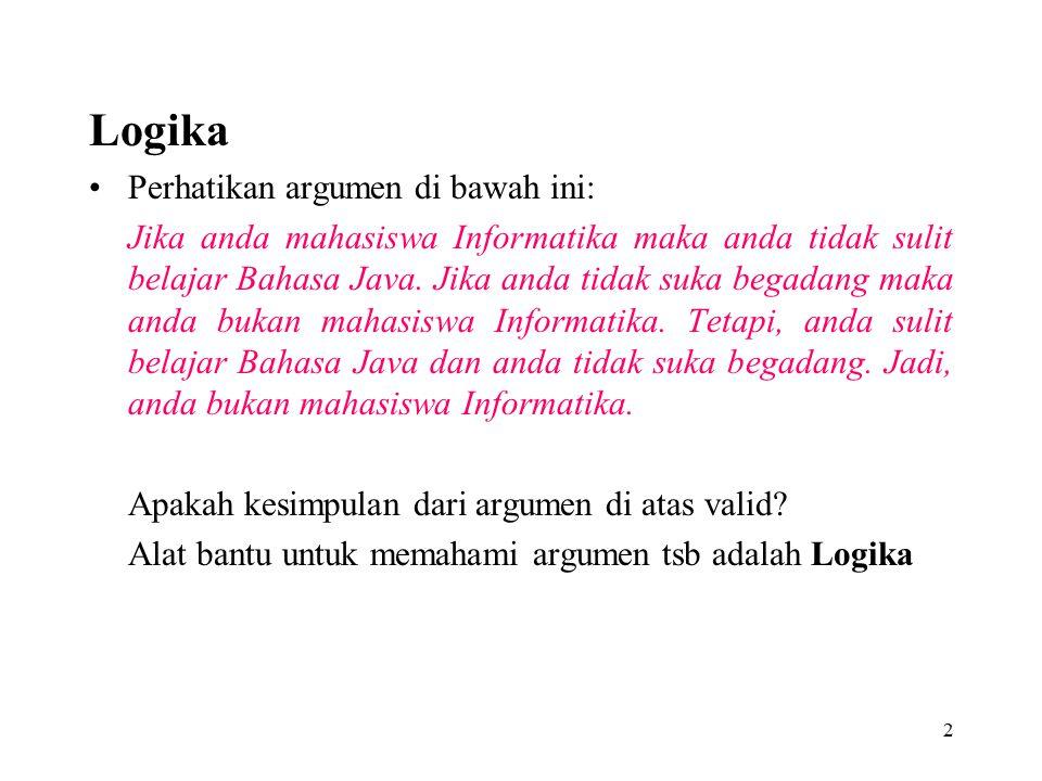 Logika Perhatikan argumen di bawah ini: