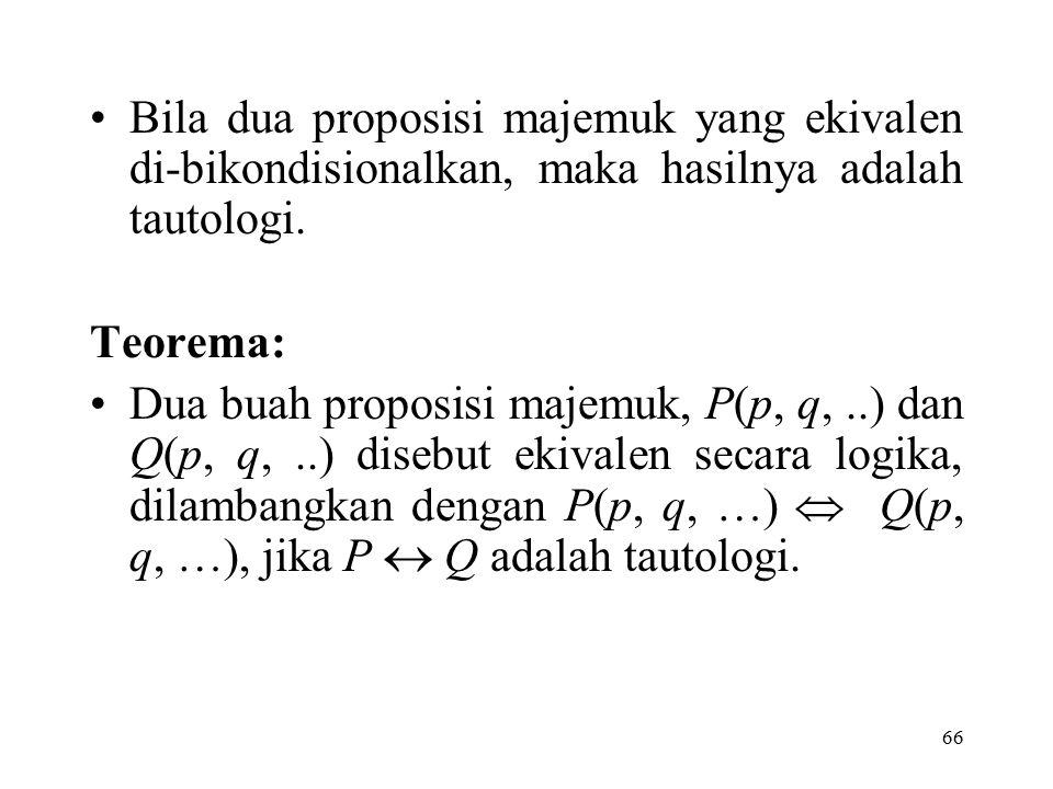 Bila dua proposisi majemuk yang ekivalen di-bikondisionalkan, maka hasilnya adalah tautologi.