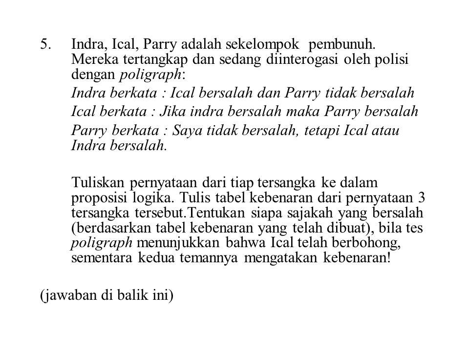 5. Indra, Ical, Parry adalah sekelompok pembunuh