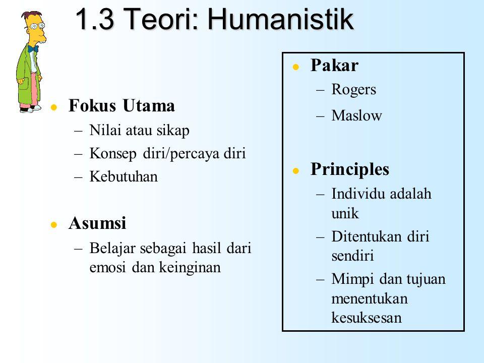 1.3 Teori: Humanistik Pakar Fokus Utama Principles Asumsi Rogers