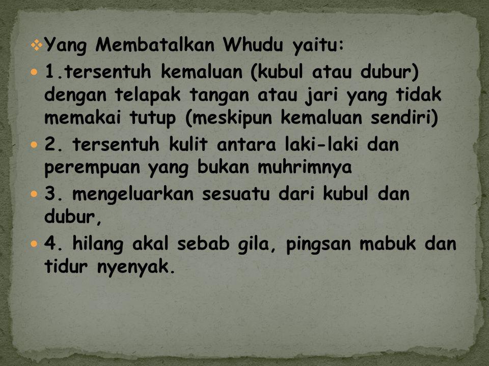 Yang Membatalkan Whudu yaitu: