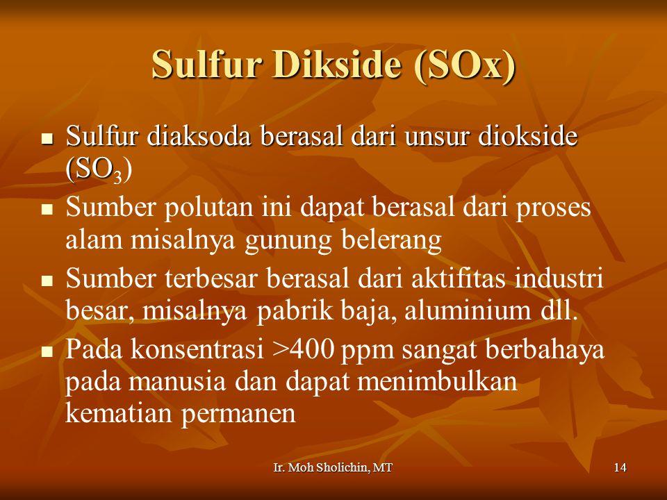Sulfur Dikside (SOx) Sulfur diaksoda berasal dari unsur diokside (SO3)