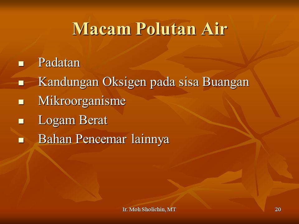 Macam Polutan Air Padatan Kandungan Oksigen pada sisa Buangan