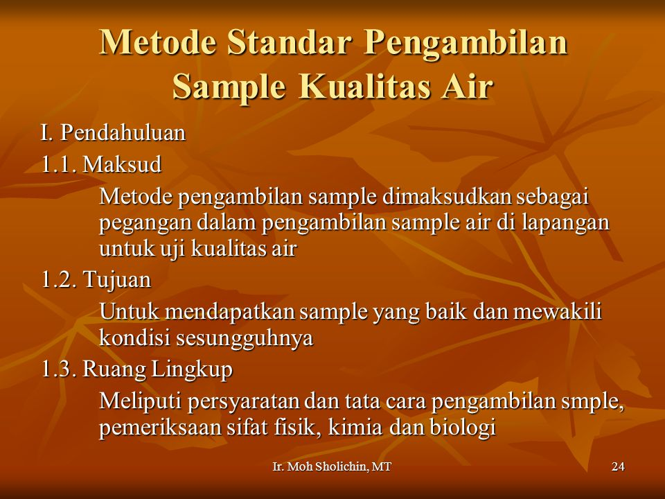 Metode Standar Pengambilan Sample Kualitas Air