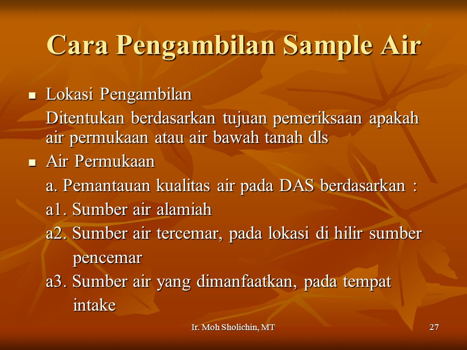 Cara Pengambilan Sample Air
