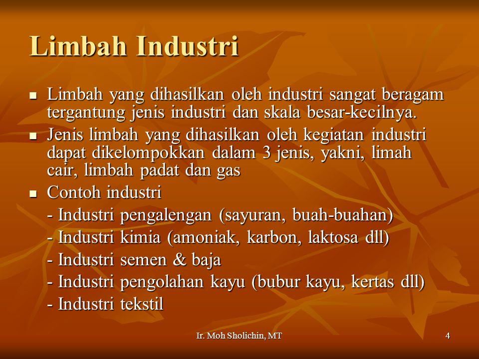 Limbah Industri Limbah yang dihasilkan oleh industri sangat beragam tergantung jenis industri dan skala besar-kecilnya.