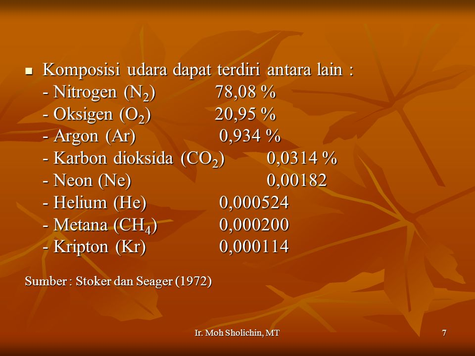 Komposisi udara dapat terdiri antara lain : - Nitrogen (N2) 78,08 %
