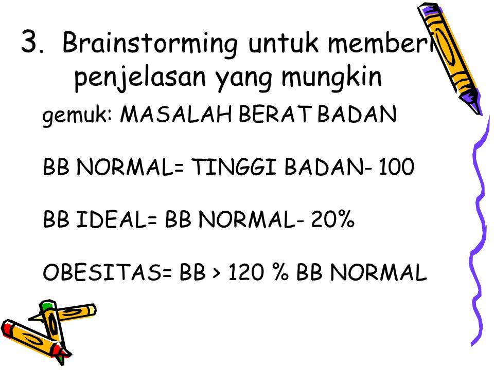 3. Brainstorming untuk memberi penjelasan yang mungkin