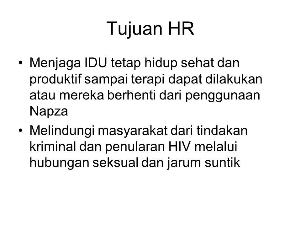 Tujuan HR Menjaga IDU tetap hidup sehat dan produktif sampai terapi dapat dilakukan atau mereka berhenti dari penggunaan Napza.