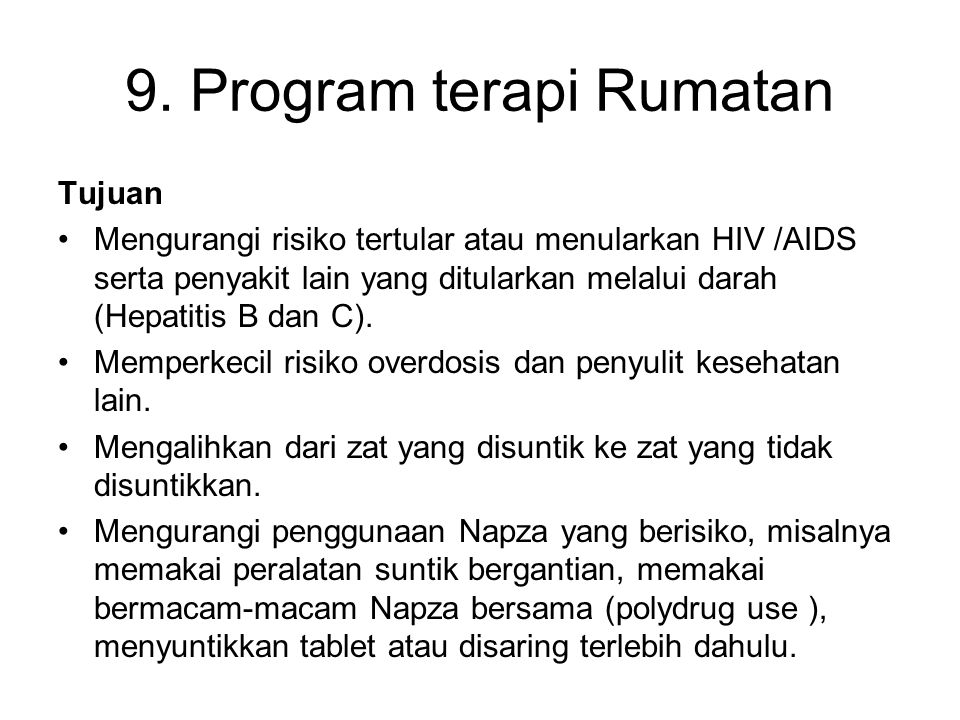 9. Program terapi Rumatan