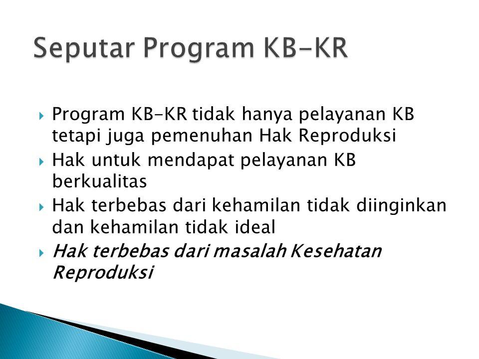 Seputar Program KB-KR Program KB-KR tidak hanya pelayanan KB tetapi juga pemenuhan Hak Reproduksi.
