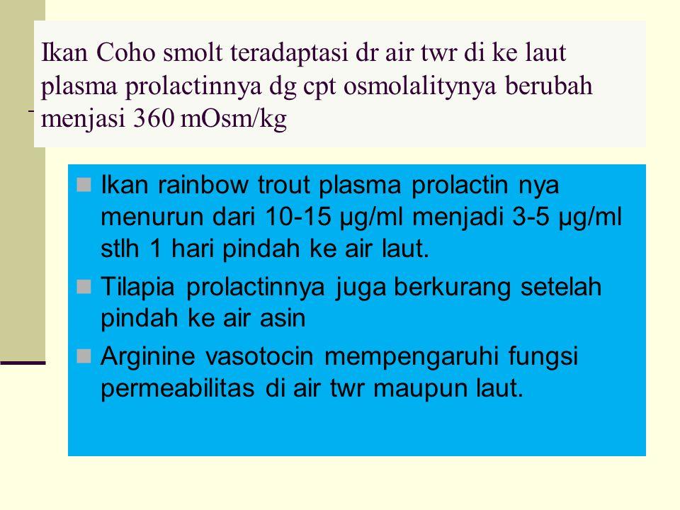 Ikan Coho smolt teradaptasi dr air twr di ke laut plasma prolactinnya dg cpt osmolalitynya berubah menjasi 360 mOsm/kg