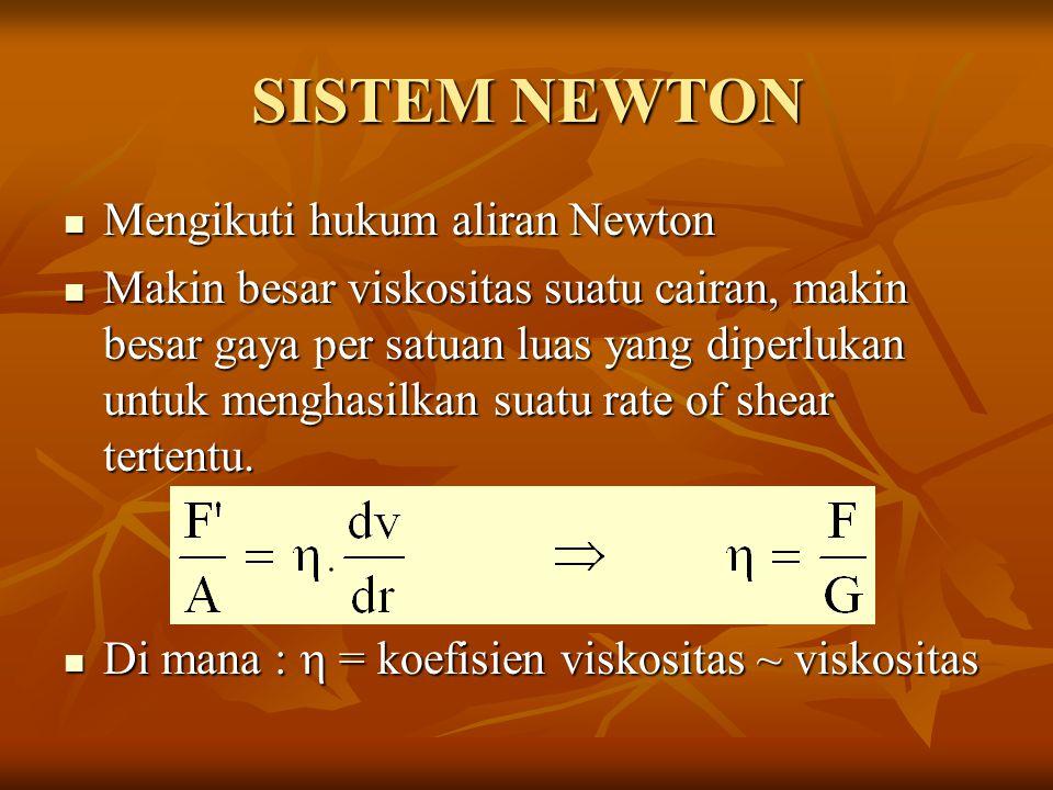 SISTEM NEWTON Mengikuti hukum aliran Newton
