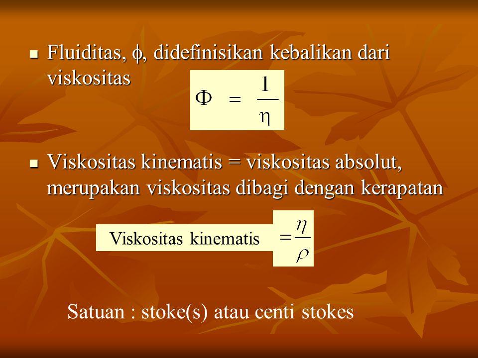 Fluiditas, , didefinisikan kebalikan dari viskositas