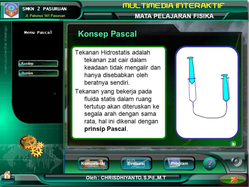Konsep Pascal Menu Pascal. Tekanan Hidrostatis adalah tekanan zat cair dalam keadaan tidak mengalir dan hanya disebabkan oleh beratnya sendiri.