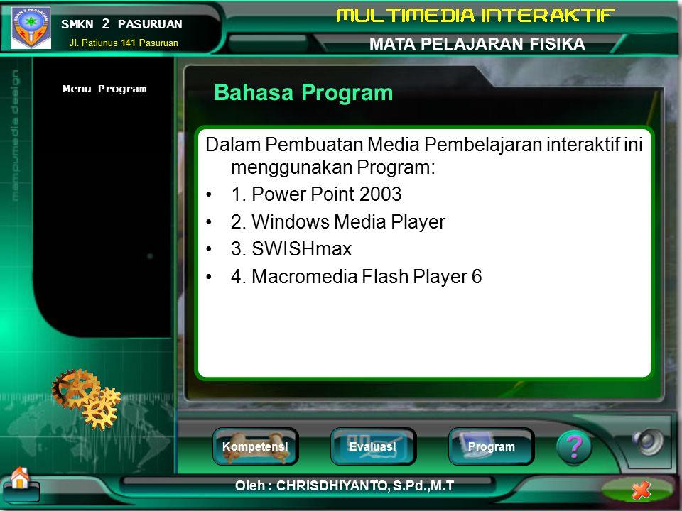 Bahasa Program Menu Program. Dalam Pembuatan Media Pembelajaran interaktif ini menggunakan Program: