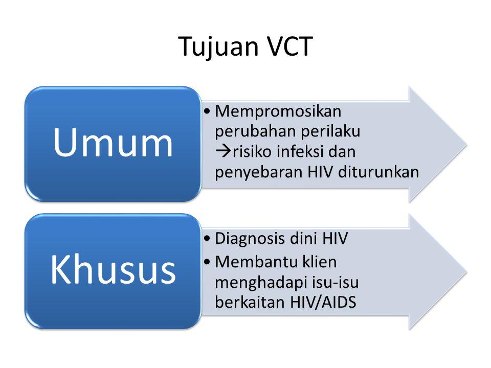 Tujuan VCT Mempromosikan perubahan perilaku risiko infeksi dan penyebaran HIV diturunkan. Umum. Diagnosis dini HIV.