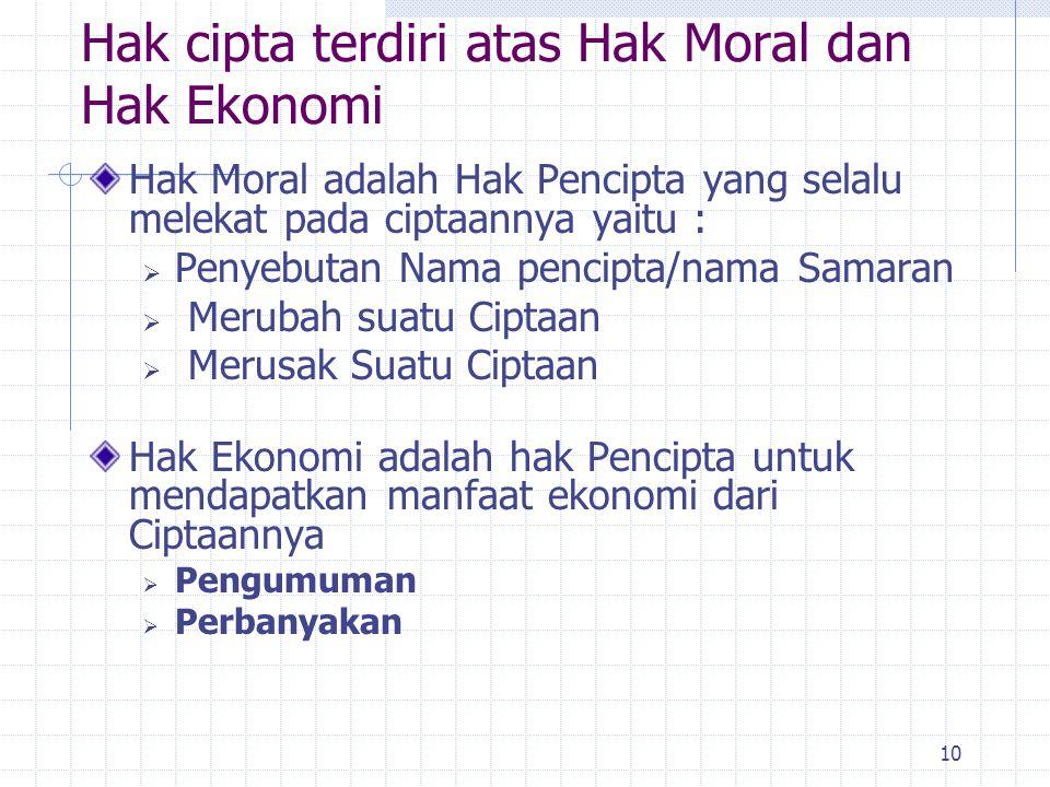 Hak cipta terdiri atas Hak Moral dan Hak Ekonomi
