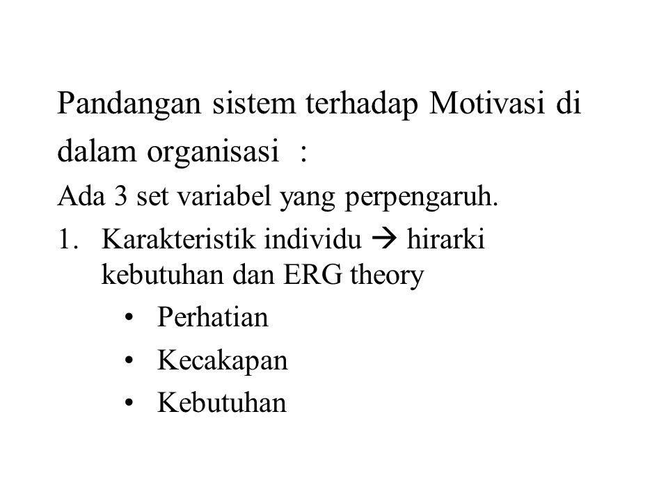 Pandangan sistem terhadap Motivasi di dalam organisasi :