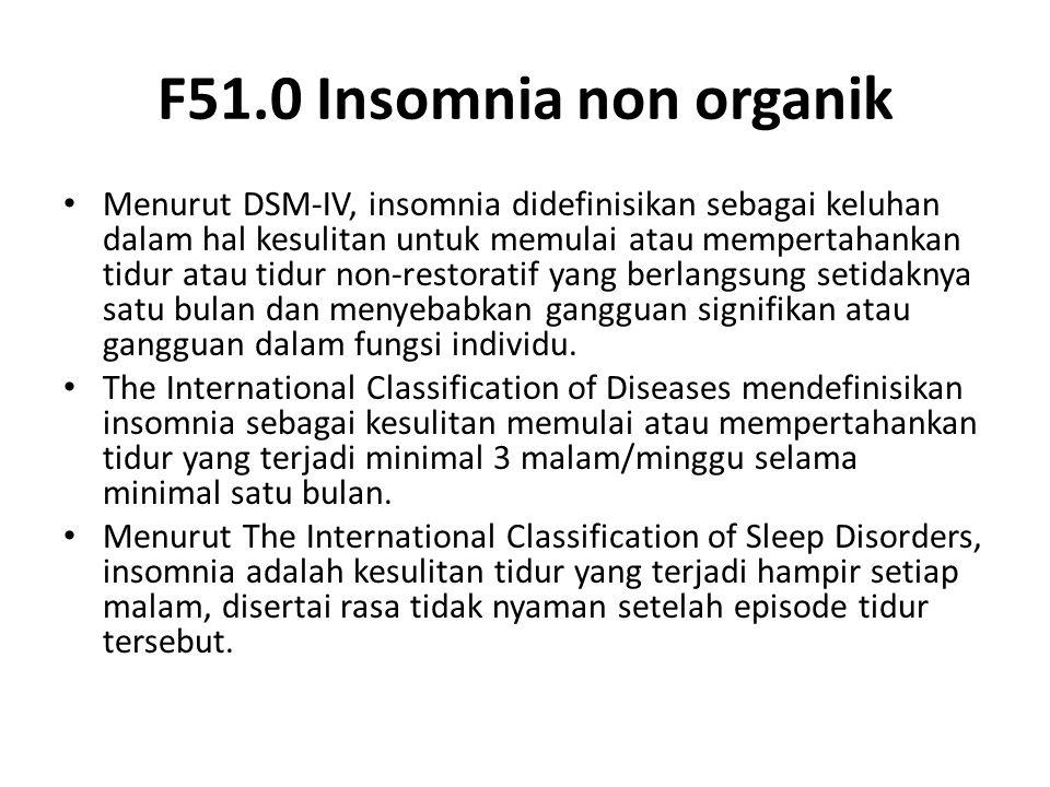 F51.0 Insomnia non organik