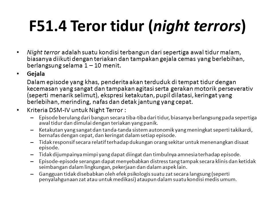 F51.4 Teror tidur (night terrors)