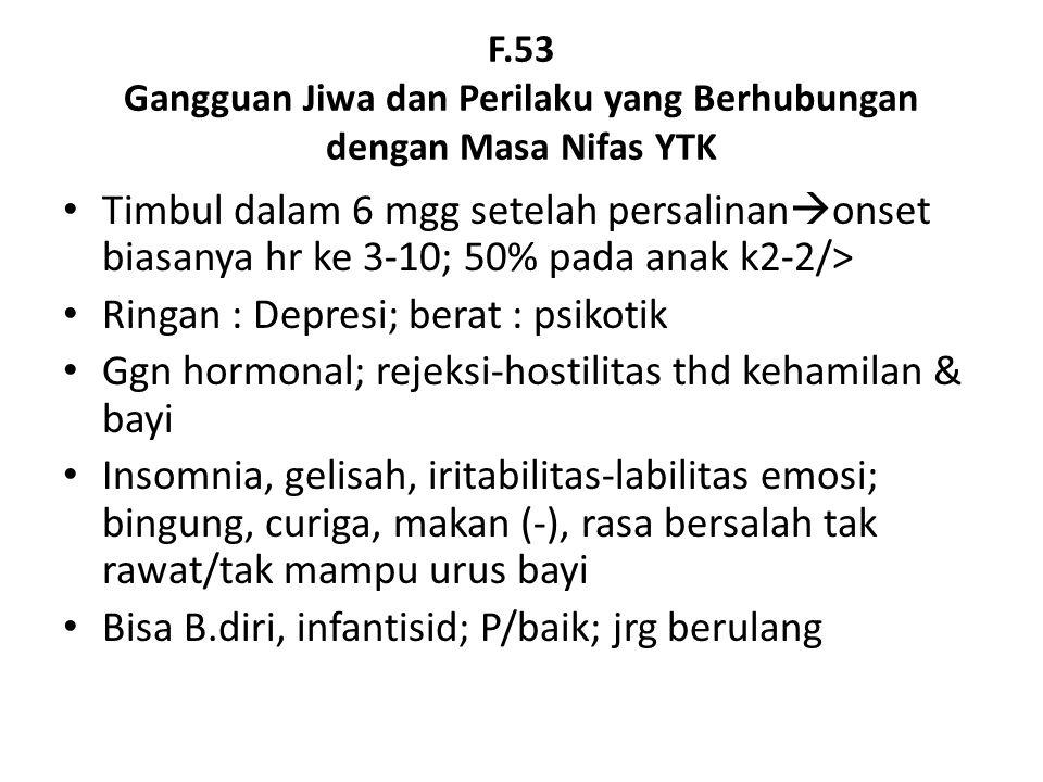 F.53 Gangguan Jiwa dan Perilaku yang Berhubungan dengan Masa Nifas YTK