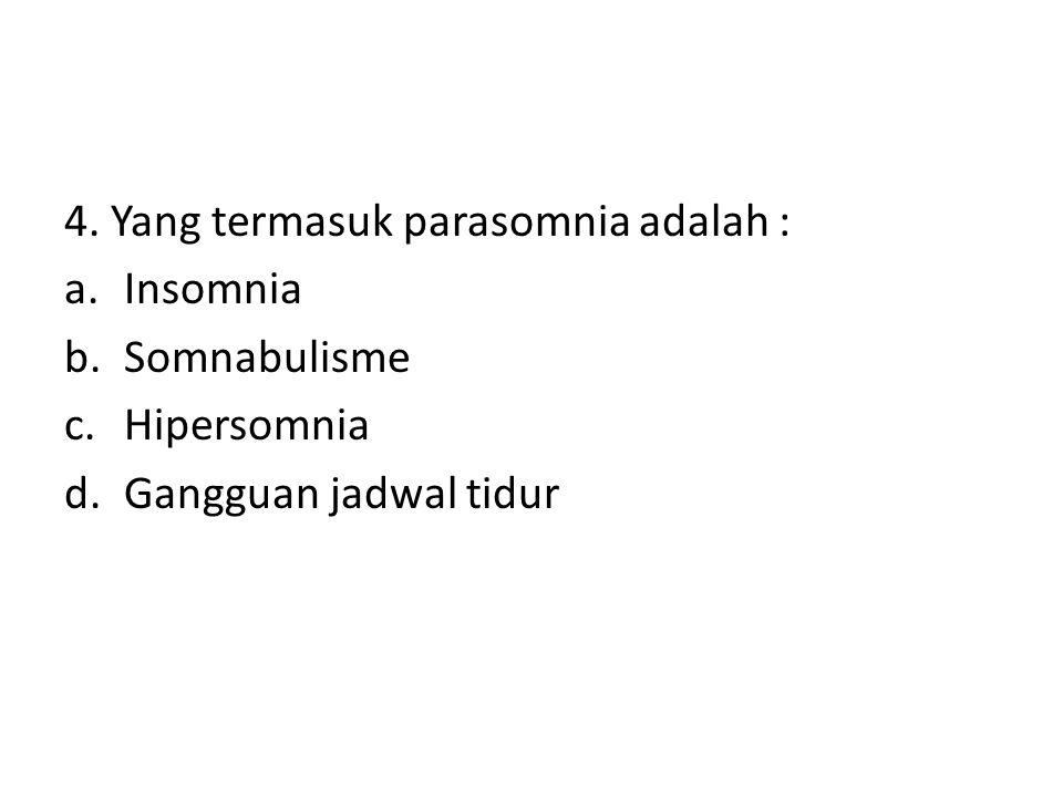 4. Yang termasuk parasomnia adalah :