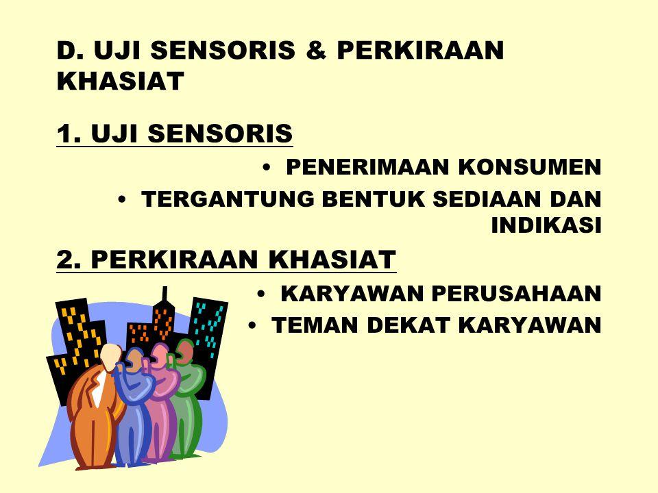 D. UJI SENSORIS & PERKIRAAN KHASIAT