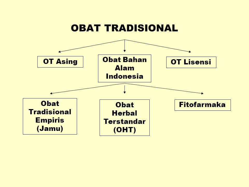 OBAT TRADISIONAL Obat Bahan Alam Indonesia OT Asing OT Lisensi