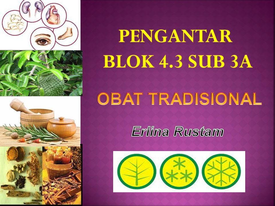 PENGANTAR BLOK 4.3 SUB 3A OBAT TRADISIONAL Erlina Rustam