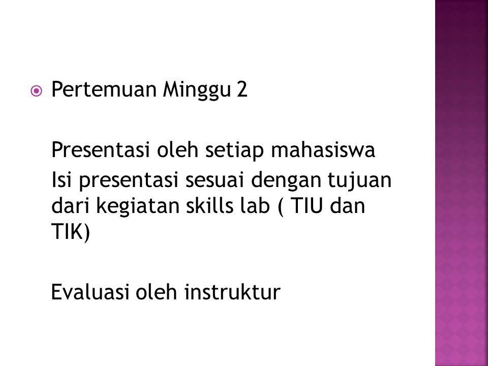 Pertemuan Minggu 2 Presentasi oleh setiap mahasiswa. Isi presentasi sesuai dengan tujuan dari kegiatan skills lab ( TIU dan TIK)