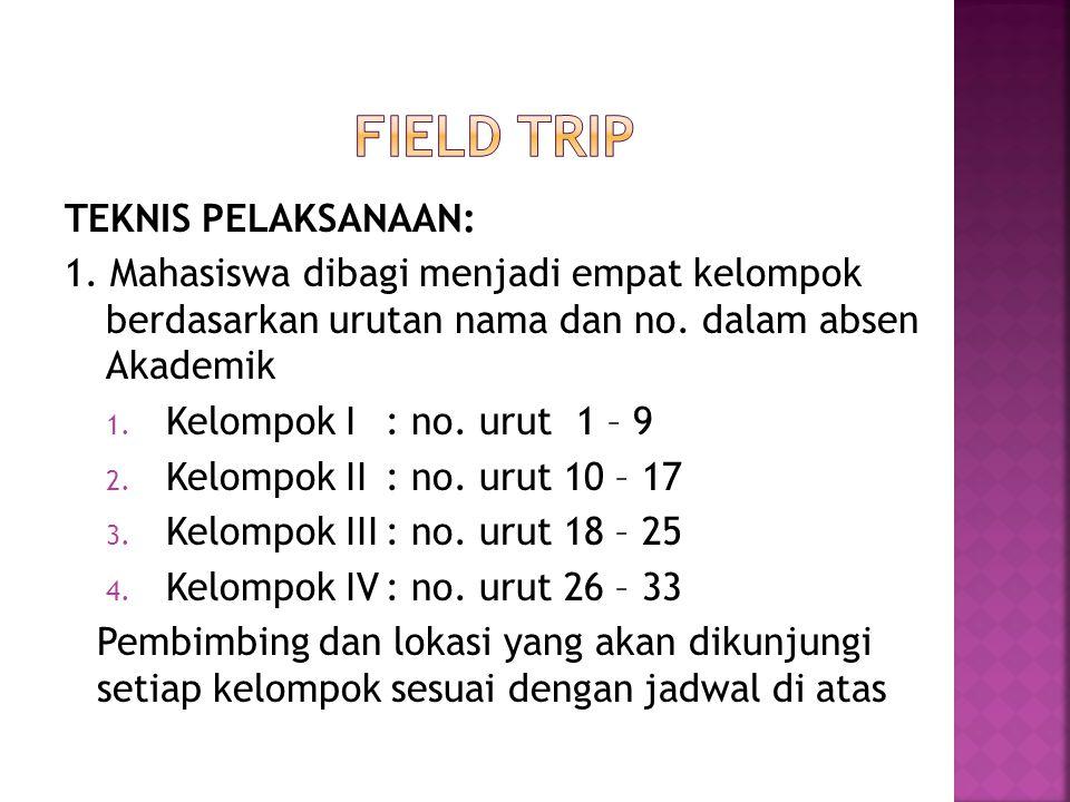 FIELD TRIP TEKNIS PELAKSANAAN: