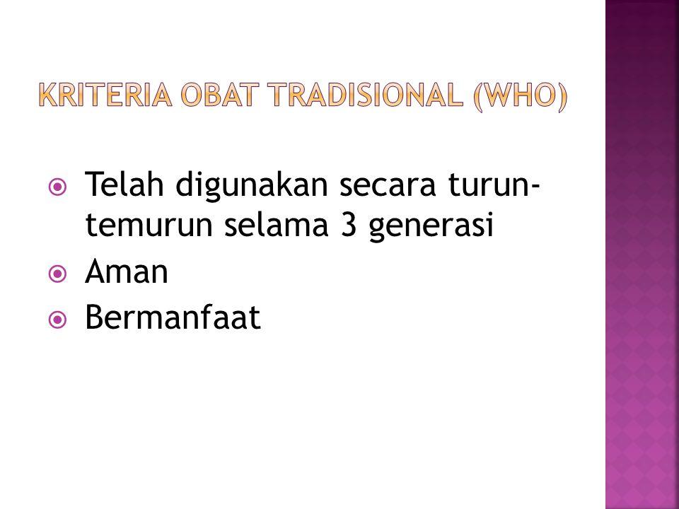 Kriteria Obat Tradisional (WHO)