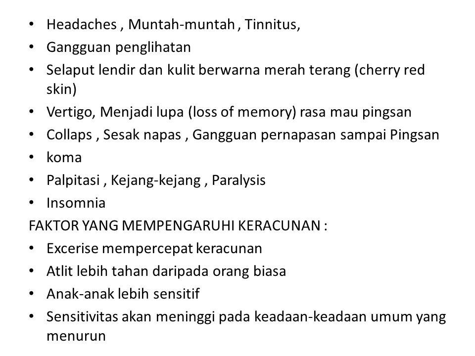 Headaches , Muntah-muntah , Tinnitus,