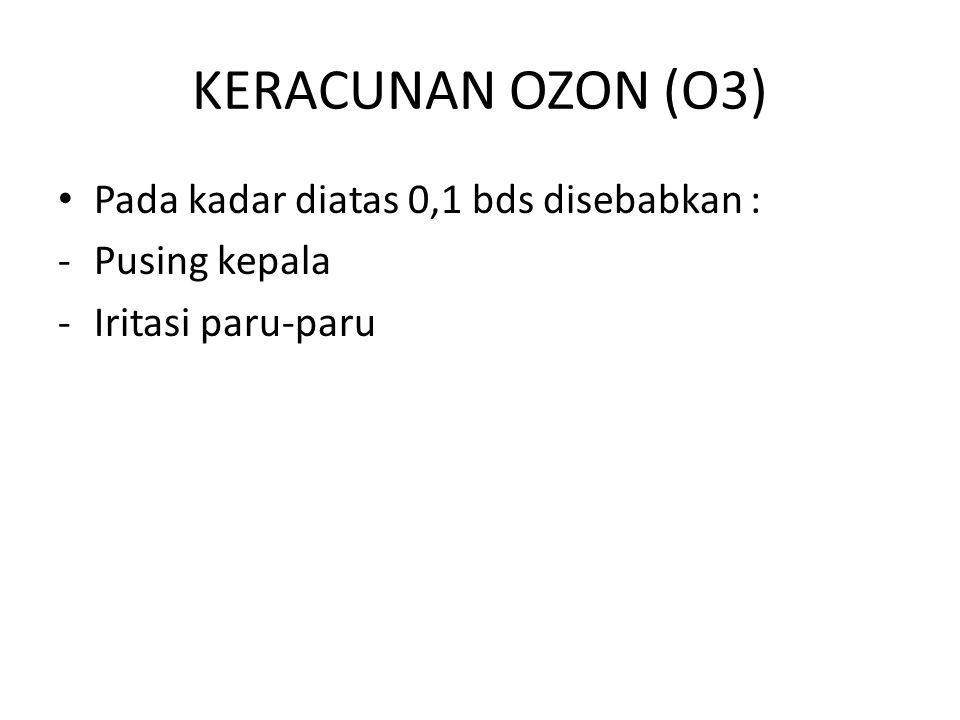 KERACUNAN OZON (O3) Pada kadar diatas 0,1 bds disebabkan :