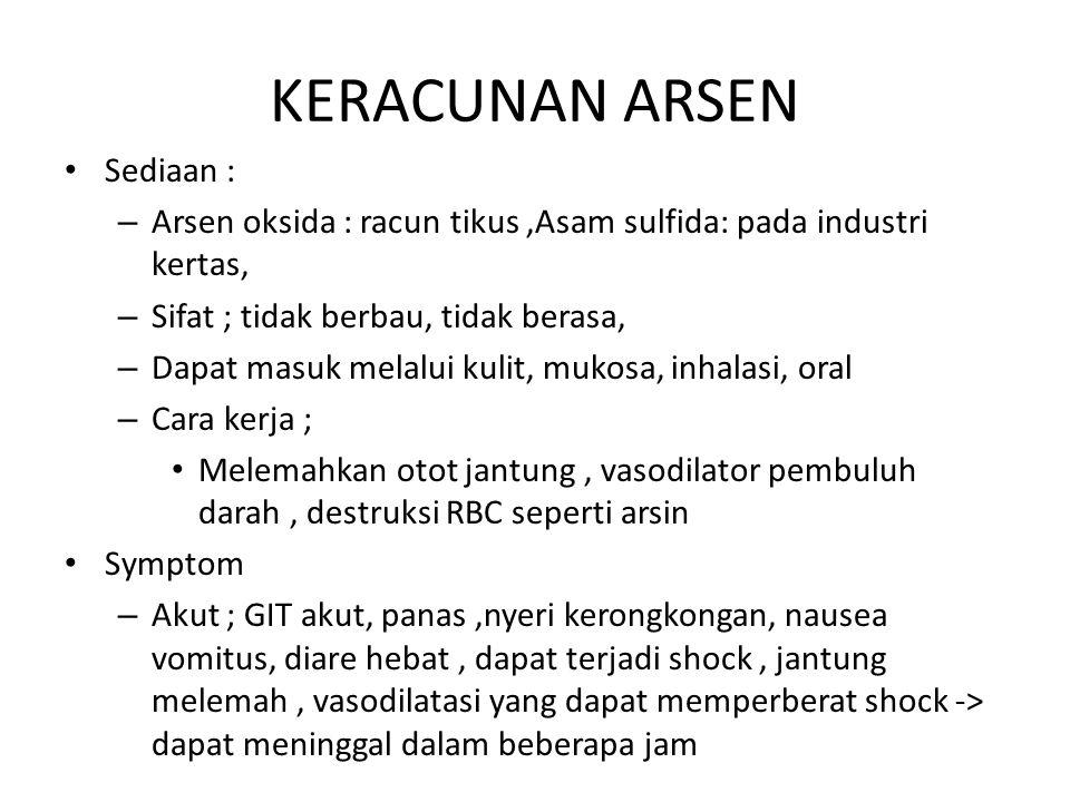 KERACUNAN ARSEN Sediaan :